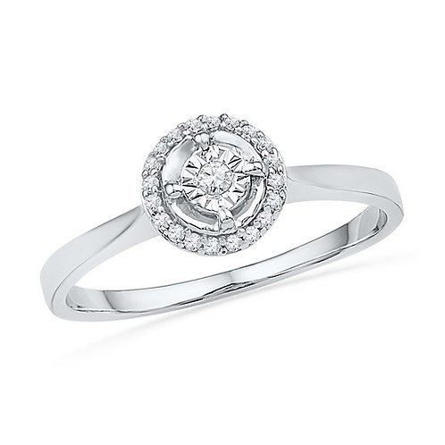 10kt Gold Round Diamond Solitaire Halo Bridal Ring
