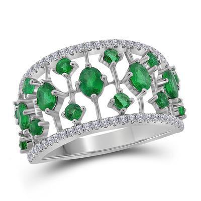 18k 1/8ctw Diamond 1 1/4ctw Emerald