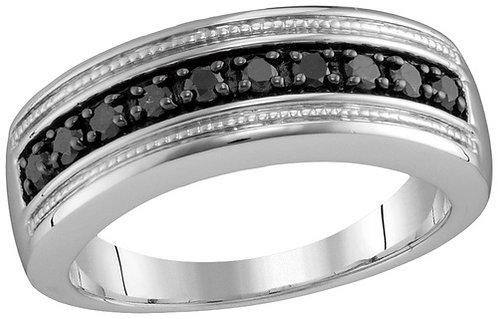 Anillo 1/2ctw aprox. 50puntos 10 diamantes Negros Plata 925 6.97 gr.