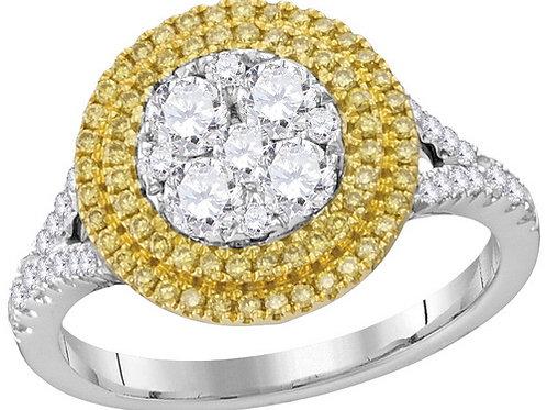 Anillo 1 ctw Diamantes Amarillos Oro 18k 4.57gr