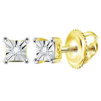 Aretes con 2 Diamantes 1 puntos en total Plata 925 0.166gr.