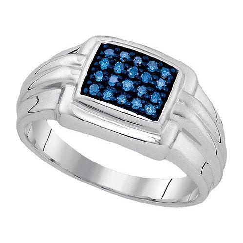 Anillo 1/4ctw aprox. 25 puntos 20 diamantes Azul Plata 925 4.08 gr.