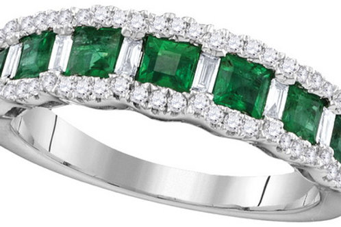 Anillo Esmeralda 7/8ctw Diamantes 1/2 ctw Oro 18k 3.75gr