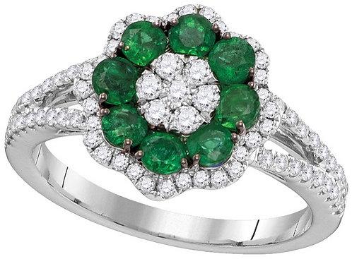 Anillo Esmeralda 3/4ctw Diamantes 1/2 ctw Oro 18k 4.85gr