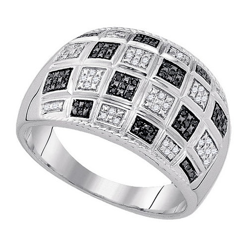 Anillo 1/5ctw aprox. 20puntos 92 diamantes Incoloros y Negros Plata 925 6.36 gr.