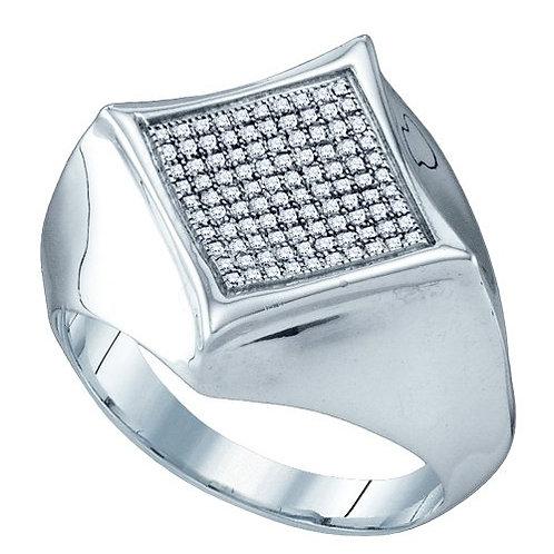 Anillo 1/3ctw. aprox. 33 puntos 100 diamantes Plata 925 4.56gr.