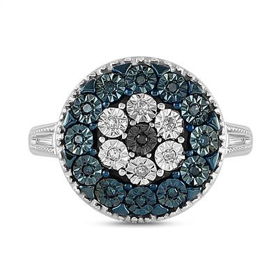 TREFLE Ring Blue & Black Diamonds
