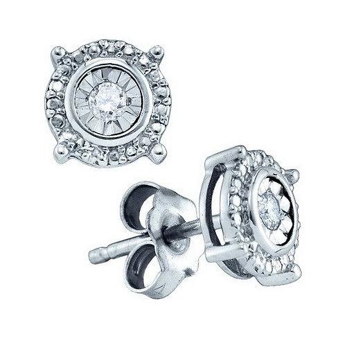 Aretes con 2 Diamantes5 puntos en total Plata 925 1.14gr.