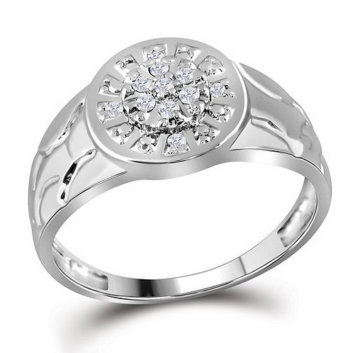 Anillo 1/6ctw aprox. 16 puntos 11 diamantes Plata 925 2.99gr.