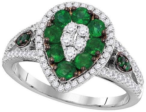 Anillo Esmeralda 3/4 carat Diamantes 1/2 ctw aprox. 37 puntos Oro 18k 5.2gr