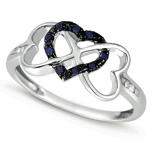 Ring United Hearts Black Diamonds