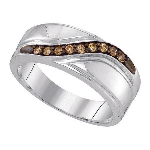 Anillo 1/4ctw aprox. 25 puntos 9 diamantes Chocolate Plata 925 3.934 gr.