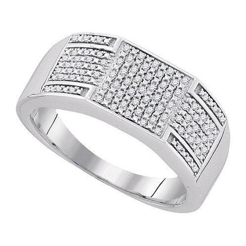 Anillo 1/4ctw aprox. 25 puntos 87 diamantes Plata 925 5.0 gr.