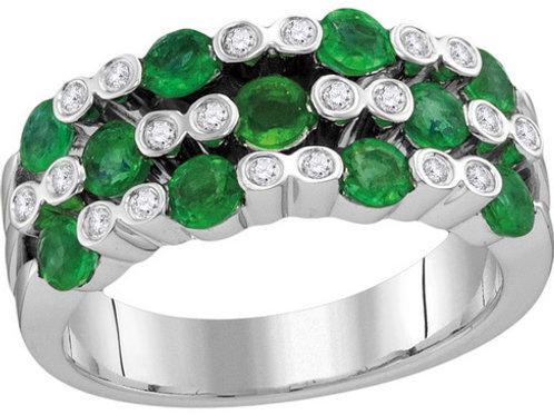 Anillo Esmeralda 1 1/4 ctw Diamantes 1/8 ctw Oro 18k 6.59gr