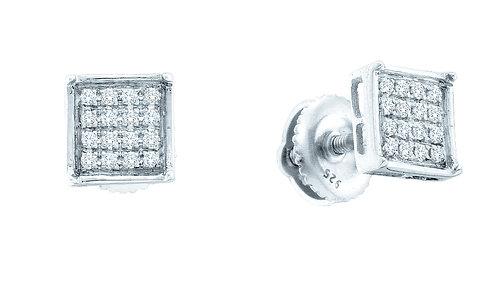 Aretes con 18 Diamantes incoloro originales 5 puntos en total. Plata 925 0.81gr.