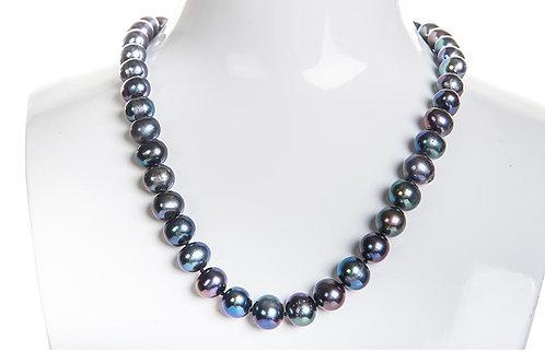 SET Flor Azul Collar Brazalete 9-10mm Aretes 5mm