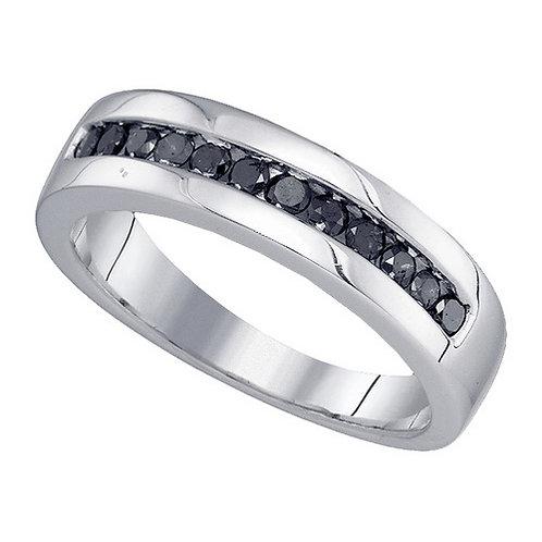 Anillo 1/2ctw aprox. 50puntos 12 diamantes Negros Plata 925 2.73 gr.