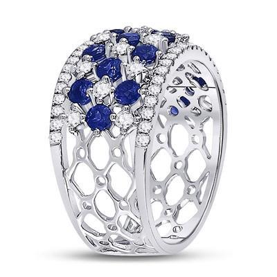 Ring with 2 ctw Sapphire &Diamond 18k Gold