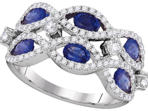 Anillo Zafiro 1 3/4ctw Diamantes 5/8 ctw Oro 18k 4.38gr