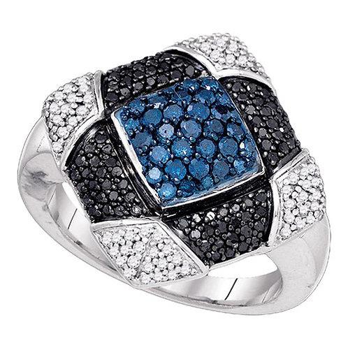 Anillo 7/8ctw Diamante Azul Oro 10k 6.18gr