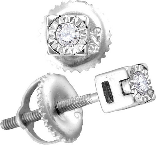 Aretes con 2 Diamantes 6 puntos en total Plata 925 0.455 gr.