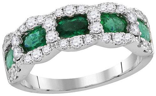 Anillo Esmeralda 3/4ctw Diamantes 1/2 ctw Oro 18k 4.52gr