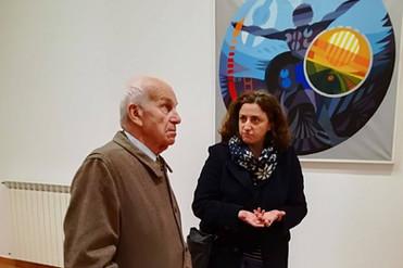 Fausto Bertinotti in visita alla mostra
