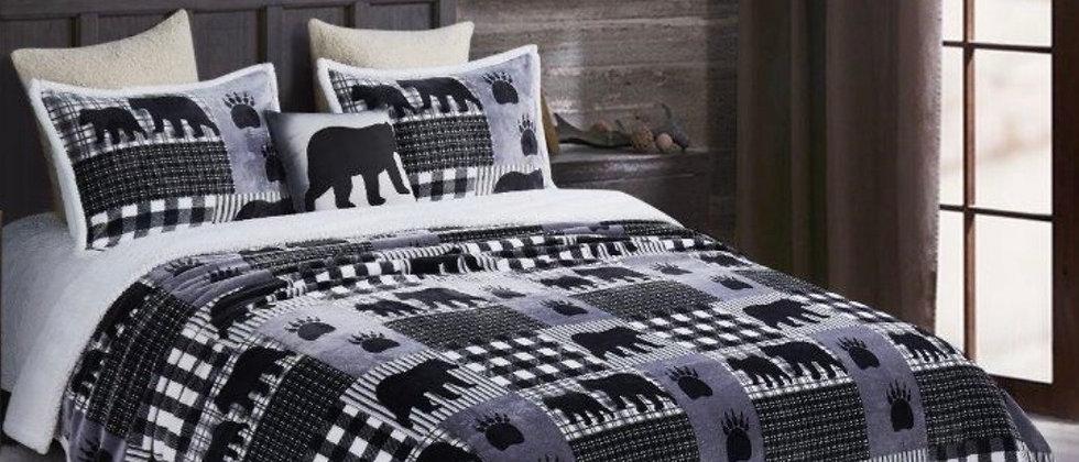 Black Bear Plaid Luxury Bed Set King