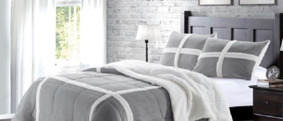 Winter Bliss Grey Faux Fur Blanket