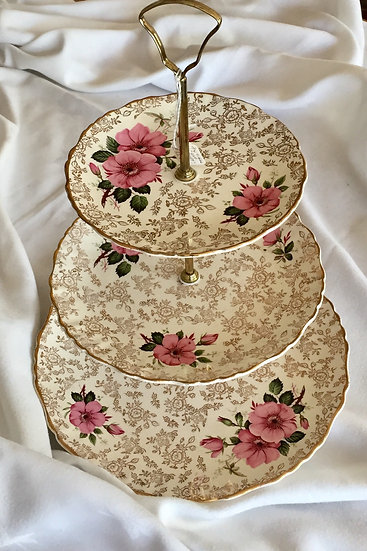 Vintage Old Foley pink rose chintz two tier cake stand