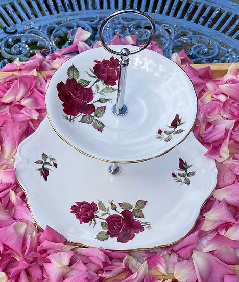 Vintage red rose two tier cake stand