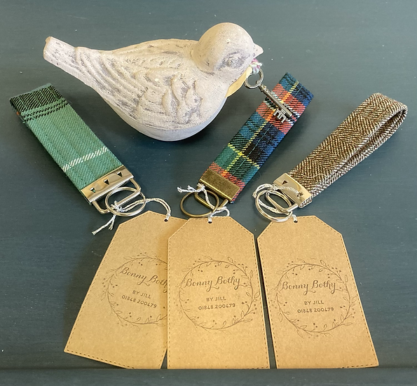 Tartan and Tweed key fobs made by Jill at Bonny Bothy