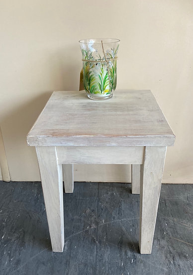 Small square washed wood effect side table