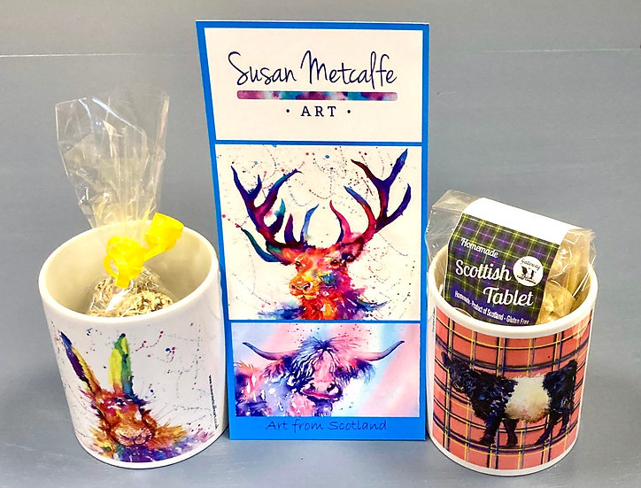 Art mugs and coasters by Susan Metcalfe