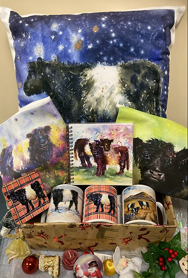 Beltie Art  - cards, shopping bags , tea towels, mugs, cushions ,