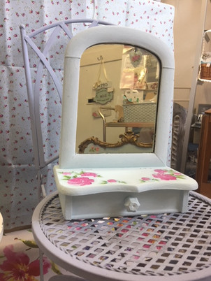 Small dressing table mirror in Annie Sloan Louis Blue with roses IMG_5572.jpg