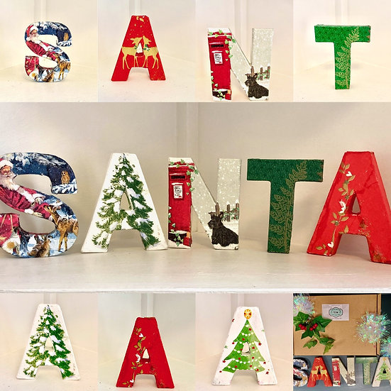 Christmas craft kit with Decoupsge napkins and letters for SANTA