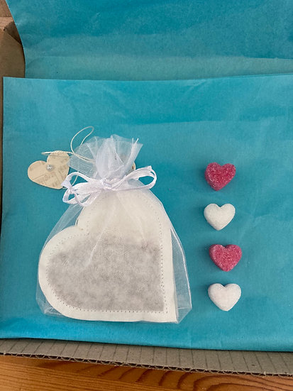 Tea Time Treats- one heart shaped tea bag & sugar cubes then make up a gift pack