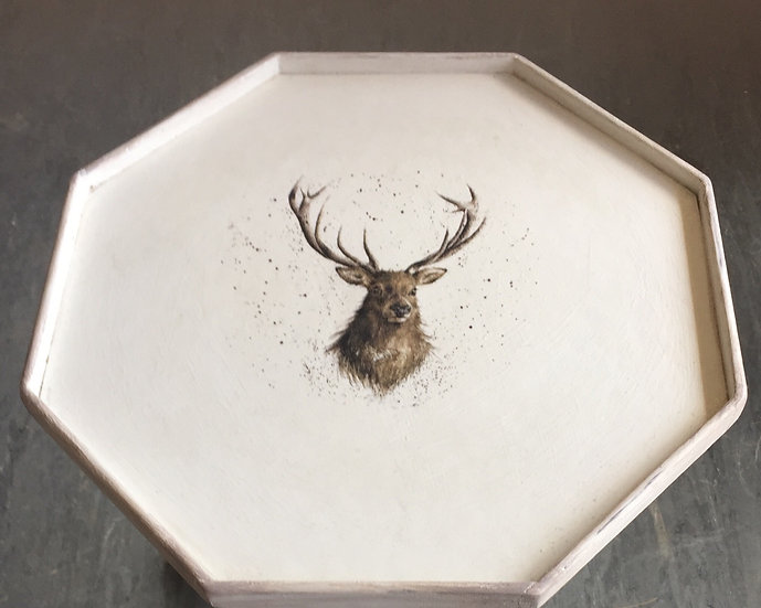Stag side table. Chalk painted in white with a decoupaged stag image.