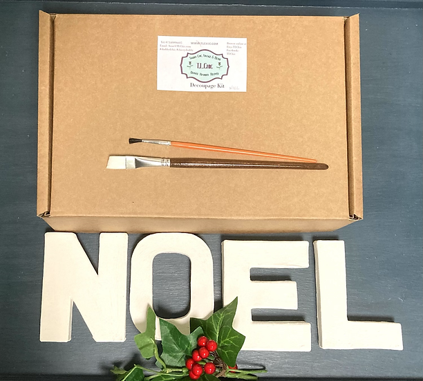 Christmas Decoupage Word Kit -NOEL includes 7 decoupage napkins.