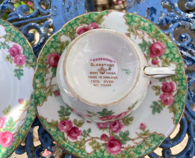 Vintage china 'Rosewood' teacup saucer and plate