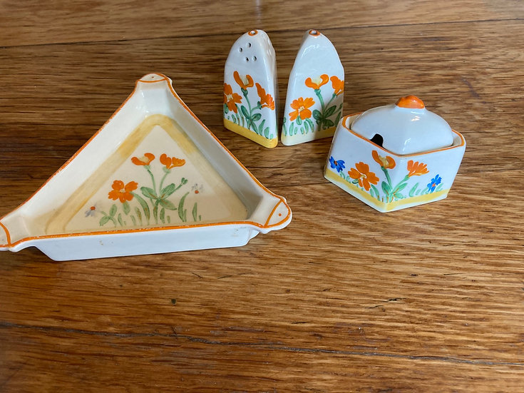 Art Deco condiment and sauce boat set by Norman Banks,  Baker Street Collection
