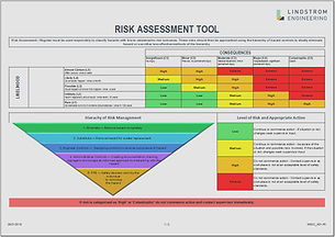 oRisk assessment and hazard and operability study (HAZOP) diagram demonstrating risk management and safety in design. This ensures safety compliance with machine and electrical safety design regulations.