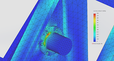 oFinite Element Analysis (FEA) results stress plot of a bolted connection in a lifting device.