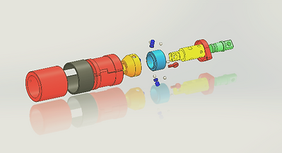 oExploded view of a precisioned machine assembly of design prototype.