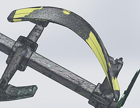 oArtec Eva 3D scan within Solidworks Geomagic add-in, highlighting Solidworks mesh overlay feature.