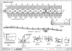 oLindstrom Engineering holds a Registered Professional Engineer (RPEQ) status in both mechanical and structural disciplines with the Board of Professional Engineers Queensland. Drafting of a vehicle trailer.