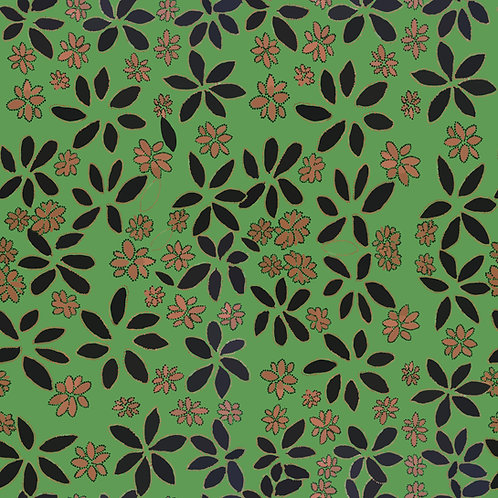 """Fabric - CD """"Leaves"""" - green small print"""