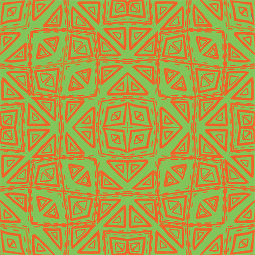Fabric - CD Triangles Orange and Lime