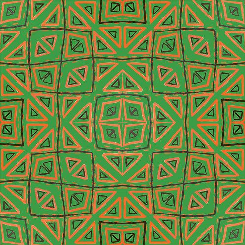 Fabric - CD Triangles Green/Orange/Black line